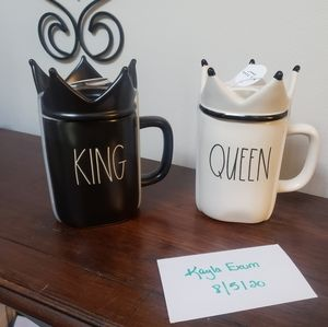 Rae Dunn KING / QUEEN mugs with toppers